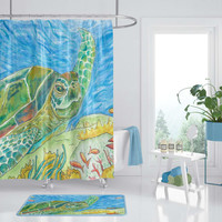 Sea Turtle Shower Curtain - Watercolor Sea Turtle Art for your bathroom, Surf beach, surfer, blue green coastal decor, bathroom