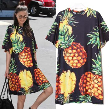 New fashion  pineapple print round loose short sleeve dress