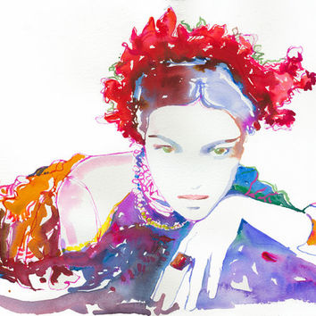"Print of Watercolor Painting, Fashion Illustration Print - Rose 13"" x 19"""