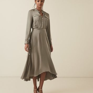 Donella Military Detailed Midi Dress - REISS