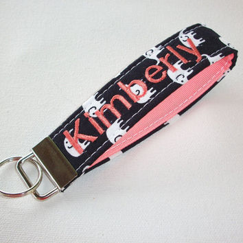 Key Fob Key FOB / KeyChain / Wristlet  -  Monogrammed - embroidered white elephants on black coral ribbon personalized