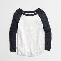 FACTORY AIRSPUN BASEBALL SWEATER IN COLORBLOCK