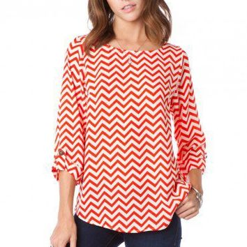 Pure Zig Zag Bateau Neck Blouse in Peppermint - ShopSosie.com