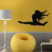 Wall Decals Vinyl Decal Sticker Living Room Interior Design Home Decor Gym Dance Studio Dancer Woman Dancing Girl Gymnast Kj735