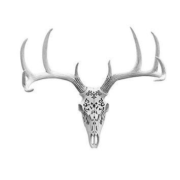 Large Carved Deer Head Skull | Faux Taxidermy | White Resin