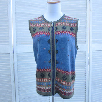 Vintage 80s 90s Sweater Vest Zipper Vest Koret Sleeveless Cardigan Sweater Womens Medium  Fair Isle Vest Embellished