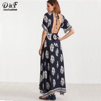 Boho Maxi Dresses Women Vintage Print Sexy V Neck Open Back Casual Beach Dress 2017 Wrap Tied Slim Long Summer Dress