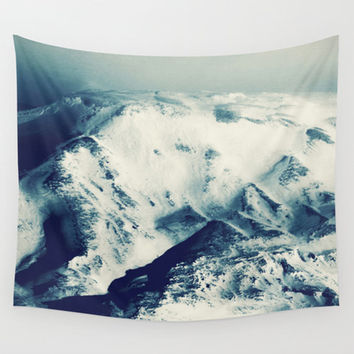 Mountain tapestry, blue tapestry, mountain wall art, photo tapestry, large wall hanging, blue décor, large wall art, oversized art, blue art