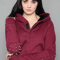 Karmaloop.com - Global Concrete Culture - The Velvet Lined Hoody with Spikes in Burgundy by NTICE