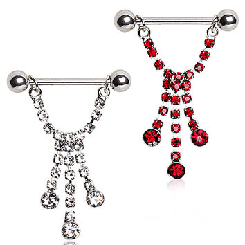 316L Surgical Steel Nipple Ring with Three Cascading Glass/Gems