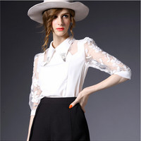 White Floral Embroidery Beaded Chiffon Sheer Mesh Blouse
