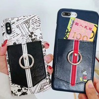 Mickey Mouse & Minnie Mouse iPhoneX/7/8P Leather Card Case F-OF-SJK