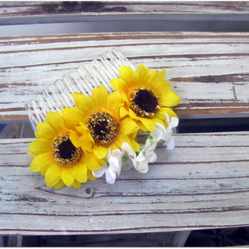 Sunflower Hair Comb - Yellow and White Flowers
