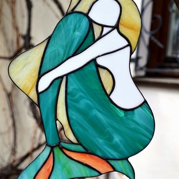 Stained Glass Mermaid Tail Decor Large Panel Suncatcher Nautical Ocean Coastal Beach House Decor Gift  Wall Art Teal Green Window Decoration