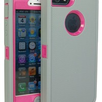Iphone 5 Body Armor Defender Comparable to Otterbox Defender Series Lite Gray on Peony Pink