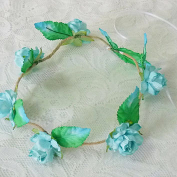 Blue rose crown leaves Minimalist headpiece Rose headpiece / Flower crown/ Rustic Rose headpiece
