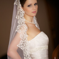 Divine silk wedding veil Chanell. Mantilla. Handmade. Chapel length. Silk white with beaded trim.