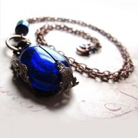 Cobalt Blue Scarab Beetle Necklace | OvertheTop - Jewelry on ArtFire
