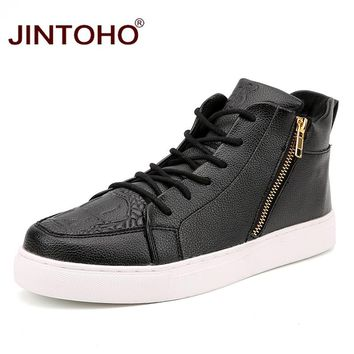 JINTOHO Big Size Unisex Winter Leather Boots Black & White Winter Men Shoes Casual Leather Shoes Zip Winter Ankle Boots
