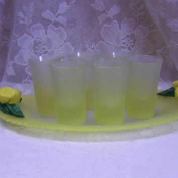 Pasabahce Turkish Shot Glass Set with Serving Tray, Frosted Satin Lemon Yellow, Summer Serving, Lemon Barware, Tequila Shooter Glasses