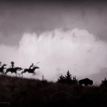 Indian Buffalo Hunt, Digital Art Print, Home Decor, Ready to Frame Photo, Wall Hanging, Nature Photograph, Nebraska, Native American, West