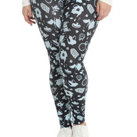 Disney Alice In Wonderland Icons Print Leggings Plus Size