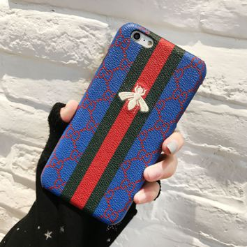 Gucci Bee Stripe Blue Fashion Print Embroidery iPhone Phone Cover Case For iphone 8 8plus iPhone6 6s 6plus 6s-plus iPhone 7 7plus