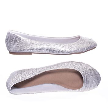 Embrace28 by Bamboo Round Toe Ballet Flats, Ballerina Shoe In Glitter Metallic & F-Suede