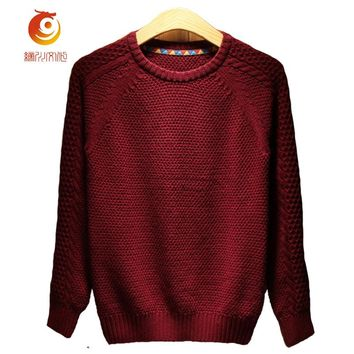 Crochet Mens Sweaters Spring Autumn Men Knitted Sweater 2017 Fashion O-Collar Cotton Men Sweater Wine Red Pullovers Sweater