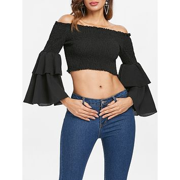 Bell Long Sleeve Shirred Crop Top for Women 4854