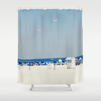 White Sand Beach Shower Curtain Cabana Shower Curtain South Beach Shower Curtain Blue Umbrella Shower Curtain Beachfront Shower Curtain