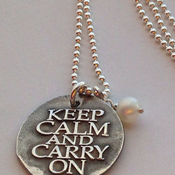 Keep Calm and Carry On Necklace, Sterling Silver Necklace, Pure Silver, PMC, Oxidized Silver