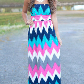 Multi-Color Chervon Print Tube Maxi Dress