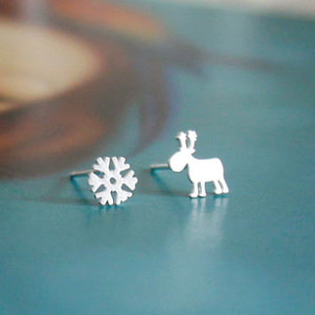 Rudolph Earrings, Snow Earrings, Cute Earrings, Winter Earrings, Christmas Earrings, Santa Claus Earrings, Sweet Earrings, Anniversary Gift