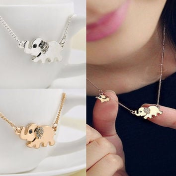Cute Elephant Family Stroll Design Women Charming Crystal Chain Necklace Chocker necklace  SM6