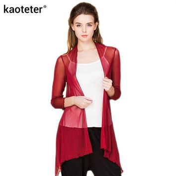 VONE05U 100% Pure Silk Yarn Women's Shawl Blouses Female Thin Transparent Clothes Women Air Conditioning Shirt Solid Long Sleeve Woman
