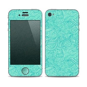 The Teal Leaf Laced Pattern Skin for the Apple iPhone 4-4s