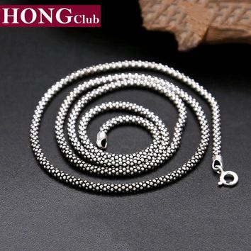 100% Real Pure 925 sterling silver necklace Women Men jewelry classic silver 925 Bead Corn Chain New Fashion Necklace 2017 GYC01