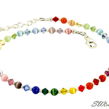 Rainbow Crystal Cats Eye Beaded Anklet