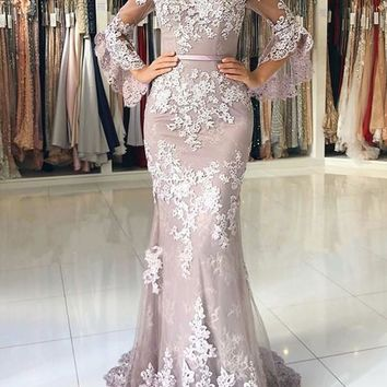 Prom Dress V Neck Half Sleeves Evening Dresses Appliques