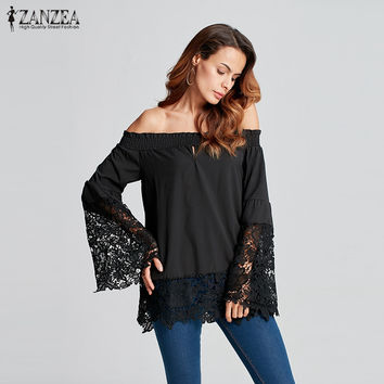 ZANZEA Women 2017 Sexy Slash Neck Off Shoulder Blouses Shirts Female Flare Sleeve Lace Splicing Casual Solid Tops Oversized