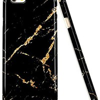 iPhone 6 Case, iPhone 6S Case, JAHOLAN Black Gold Marble Design Slim Shockproof Clear Bumper TPU Soft Case Rubber Silicone Cover for Apple iPhone 6 6s