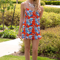 Sunkissed Tropicalia Ruffle Romper- Tomato Red