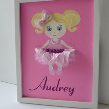 Personalised Doll Name Plaque. Nursery Wall Art.
