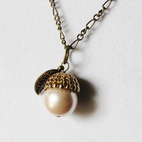 Light Pink and Gold Acorn Necklace - Light Pink Glass Pearl with a Gold Toned Acorn Bead Cap and Bronze Leaf on a Bronze Chain