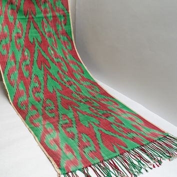 ikat women scarf, table runner, handmade scarf, hand dyed, red green ikat scarf, shawl, écharpe, Schal, bufanda, accessories