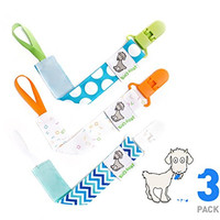 Pacifier Holder Clip Cord - Best Rust-free, Durable for Baby Boys - 3 Pack Set - Teething Ring Toys, Soothie Pacifiers, Blankets - by Billy Goat Baby Gear