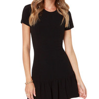 Black Short Sleeves Ruffled Bottom Mini Dress