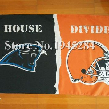 NFL Carolina Panthers Cleveland Browns House Divided Flag Banner 3x5ft 150x90cm Polyester 05016, free shipping