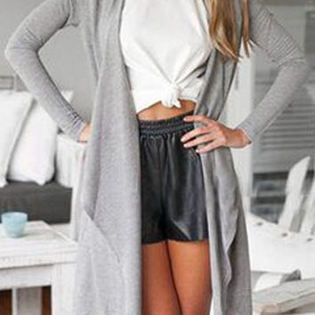 Gray Long Sleeve Asymmetric Cardigan